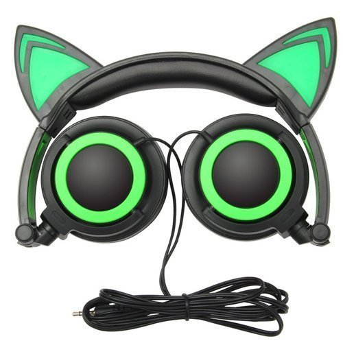 (Cat Ear Headphones, Ubearkk Blinking Kids Headphones Fashion Glowing Cosplay Headset Foldable Over-Ear Gaming Headsets with LED Light Compatible for iPhone 6S,Android Phone,PC (Green))