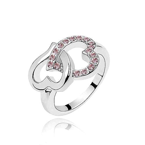 plateado elementos de Swarovski Crystal diamante acento entrelazados Corazón Eternidad Compromiso Anillos de Boda para Mujer