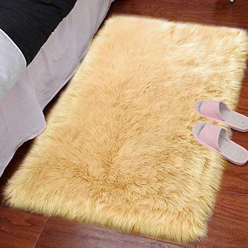 LOCHAS Silky Soft Faux Fur Sheepskin Rug 2'x3', Fluffy Bedside Rugs for Bedroom Thick Floor Wool Carpet, Machine Washable, Beige