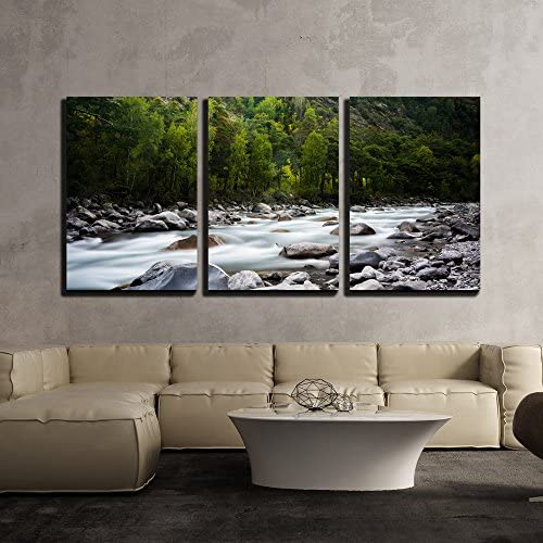 wall26 – 3 Piece Canvas Wall Art – Landscape with a Creek in Mountains – Modern Home Decor Stretched and Framed Ready to Hang – 16 x24 x3 Panels