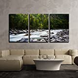 wall26 - 3 Piece Canvas Wall Art - Landscape with a Creek in Mountains - Modern Home Decor Stretched and Framed Ready to Hang - 24''x36''x3 Panels