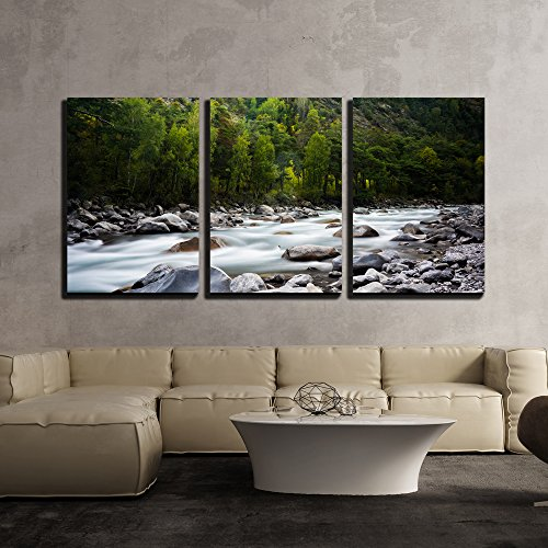 (wall26 - 3 Piece Canvas Wall Art - Landscape with a Creek in Mountains - Modern Home Decor Stretched and Framed Ready to Hang - 16