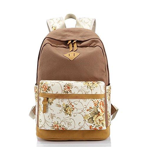 Flor impresa Casual lona portátil bolso escolar mochila ligera mochilas para niñas adolescentes marrón