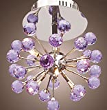 JinYuZe 6-Light Ceiling Light Crystal Mini Semi Flush Mount Ceiling Lamp Pendant lighting(Purple) Review
