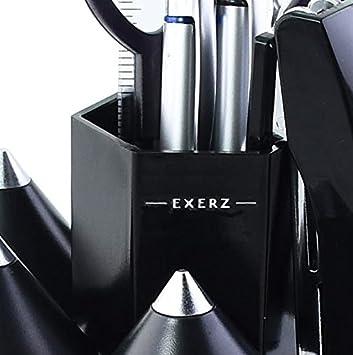 righello EXERZ EX058 O-Life Organizer da scrivania// set ruotante portaoggetti da scrivania per penne con 5 scompartimenti per accessori Diversi colori graf riempito con forbici di sicurezza non taglienti distributore di nastro adesivo gomma