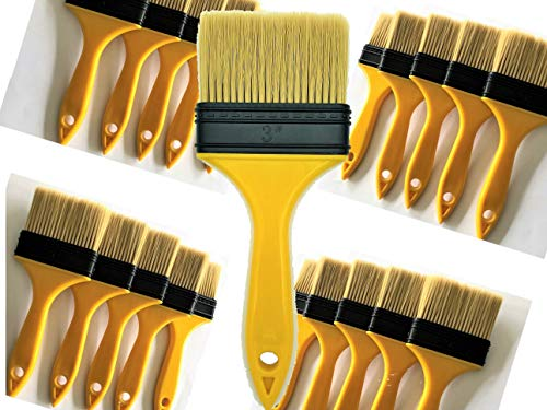 PANCLUB 20 Pack of 3 inch Paint and Sturdy Bristles Chip Paint Brushes Bulk, 100% Plastic for Paint, Gesso, Glues, Varnishes, Stains, Acrylics and Completely Recyclable ()