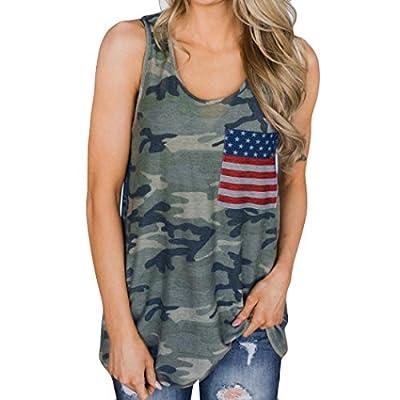 CUCUHAM Womens Camouflage Tops Vest Fashion Blouse Leisure Flag Sleeveless T Shirt