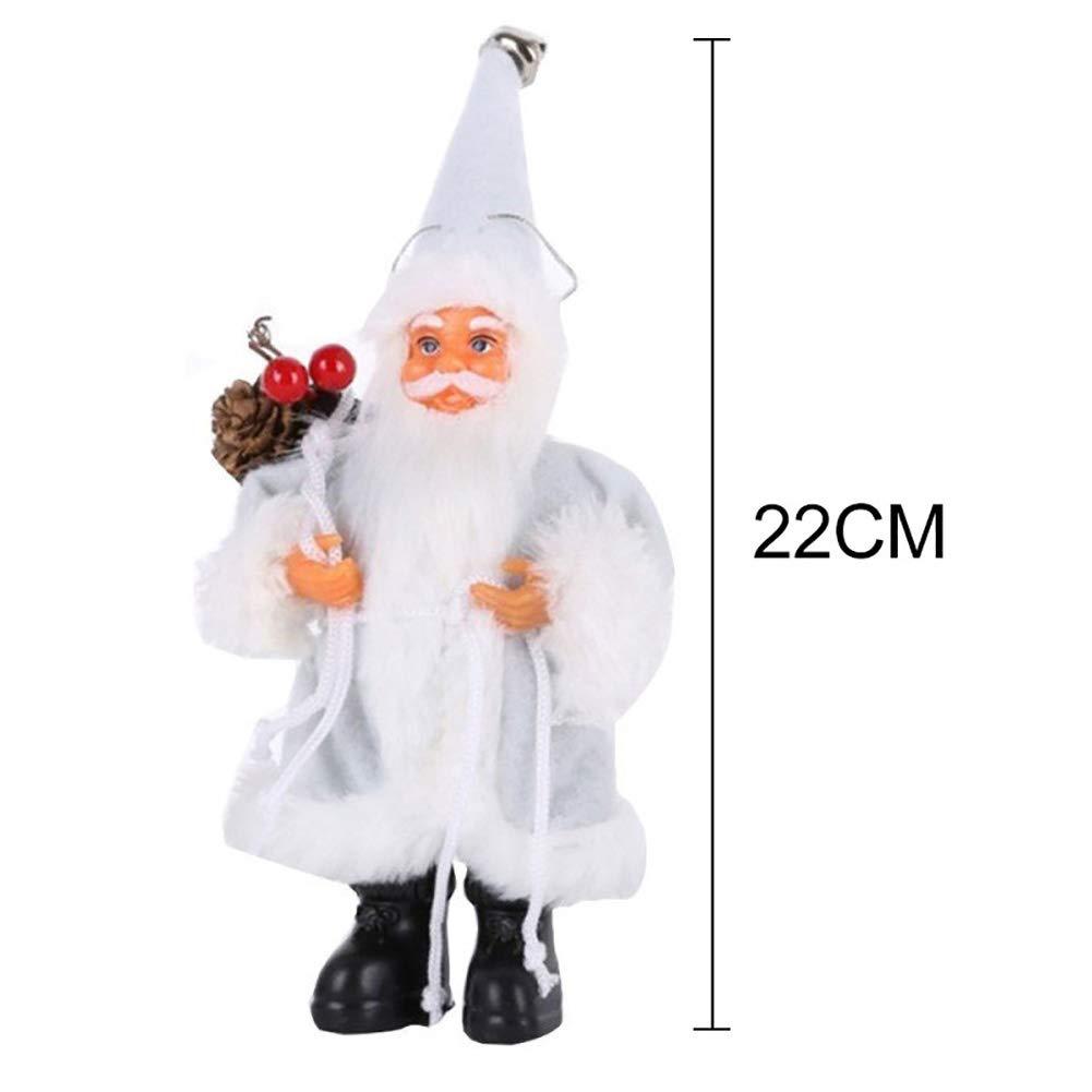 Slri SIridescentZB Décorations de Noël, Père Noël Debout Cadeau de poupée Jouet Cadeau Arbre de Noël Suspendu Ornement décor Blanc 16cm