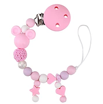 Feeding Baby Pacifier Clips Holder Chain Silicone Beads Food Grade Pacifier Chains Rose Baby Teether Teething Chain Toys