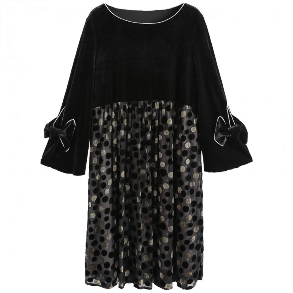 L BINGQZ gold silk dress female winter new temperament loose long black skirt autumn and winter skirt