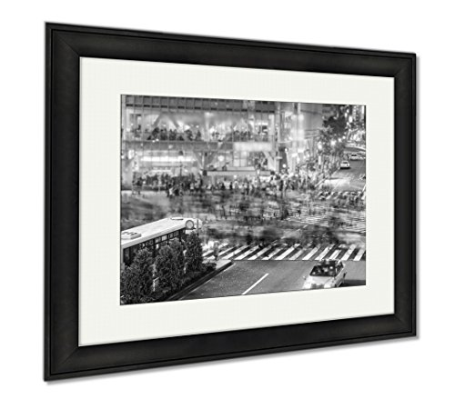 Ashley Framed Prints People And Traffic Crossing The Famous Shibuya Intersection, Wall Art Home Decoration, Black/White, 26x30 (frame size), Black Frame, - In Crossing Downtown Shops