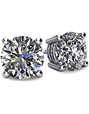 NANA 14k Gold Post & Sterling Silver 4 Prong CZ Stud Earrings -Platinum Plated-9.0mm-6.00cttw