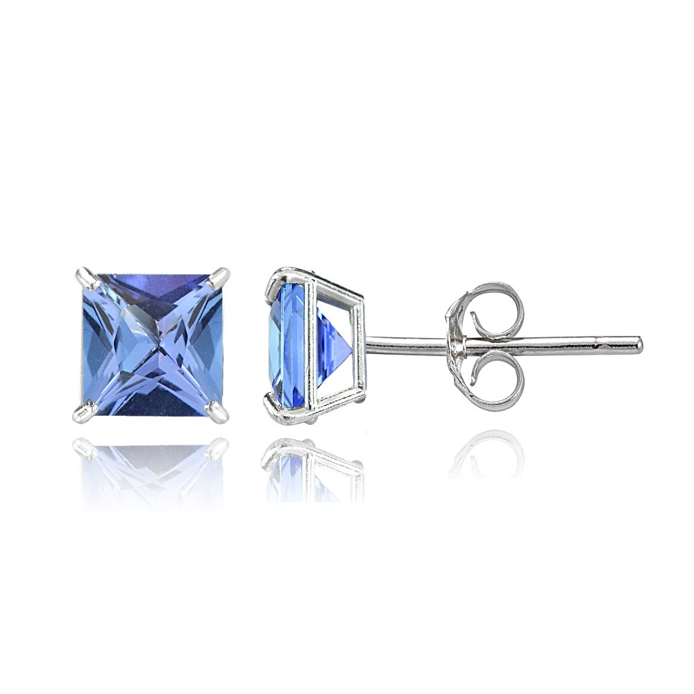 Bria Lou 14k White Gold Tanzanite Gemstone 6mm Square-Cut Solitaire Stud Earrings