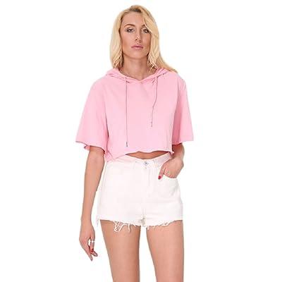 ONTBYB Womens Long Sleeve Color Block Casual Loose Crop Top Sweatshirt