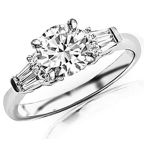 (1.1 Ctw 14K White Gold Prong Set Round And Baguette Engagement Ring w/Round 0.75 Carat Forever One Moissanite Center)
