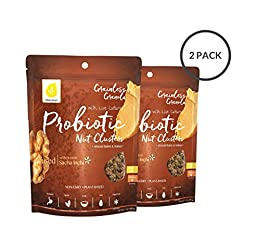 Probiotic Nut Clusters, Organic Grain-free Granola with Live Cultures, Breakfast Snack, Nuts & Seeds, Plant-Based Protein + Fiber, Gluten Free, Almond Butter Walnut, 7 oz pouch (2-pack)
