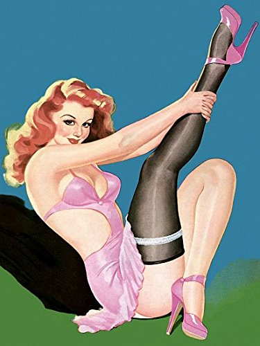 Pin Up Girl Redhead Pinup Girl Pink Lingerie Poster Paper