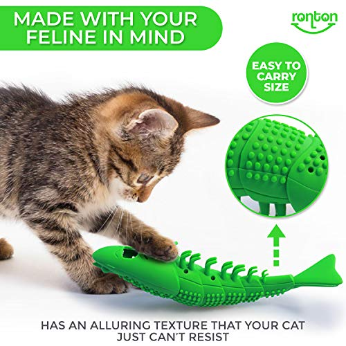 Ronton Cat Toothbrush Catnip Toy - Durable Hard Rubber - Cat Dental Care, Cat Interactive Toothbrush Chew Toy, Refillable Catnip Kitten Teaser Toy with Bell 4