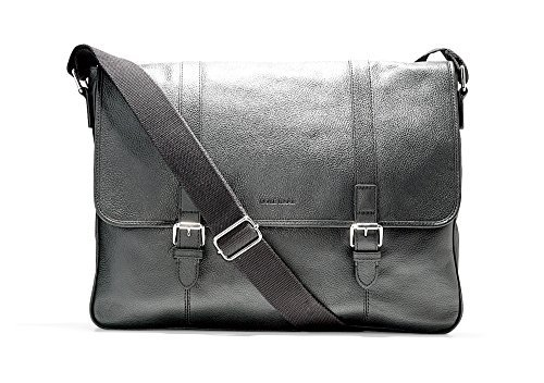 - Cole Haan BLACK Large Pebble Messenger SOFT LEATHER SHOULDER STRAP BAG 12