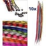 Igking supply Lot d'extensions de cheveux en plumes synthétiques avec perles 10 couleurs