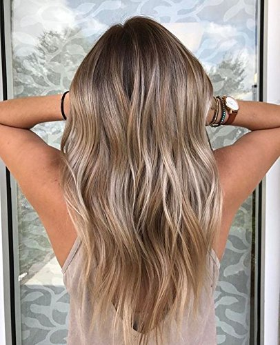Ugeat 10Pcs Clip in Real Remy Human Hair Extensions Brown and Grey Balayage 120g