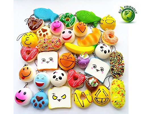 AOBOR Jumbo Medium Mini Soft Squishy Cake/Panda/Bread/Buns Phone Straps (12PCS) -