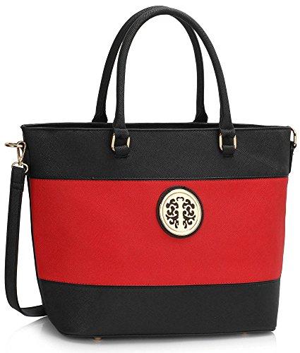 LeahWard Groß Größe mode Designer Berühmtheit Qualität Kunstleder Schultertasche Handtasche modisch Umhängetasche Tasche CWS00406 CWS00406A, A-Black/Red, Mittel Groß
