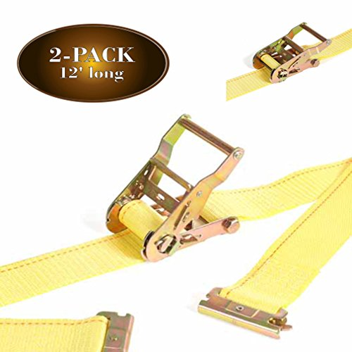 2Pk E Track Ratcheting Straps Cargo TieDowns, 2 x 12 Heavy Duty Yellow Polyester Tie-Down Straps, Strong Ratchet, ETrack Spring Fittings, Tie Down Motorcycle, Trailer Load, by DC Cargo Mall (2) - Load Straps E Track