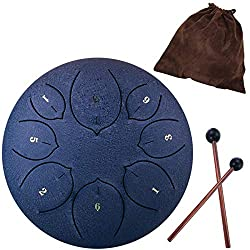 Steel Tongue Drum - 8 Notes 6 inches - Percussion Instrument -Handpan Drum with Bag, Music Book, Mallets, Finger Picks