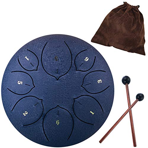 Steel Tongue Drum – 8 Notes 6 inches – Percussion Instrument -Handpan Drum with Bag, Music Book, Mallets, Finger Picks