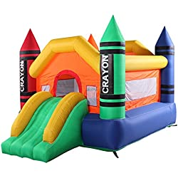 JAXPETY Inflatable Crayon Moonwalk Bounce House with Slide Bouncer Jumper Bouncer Castle