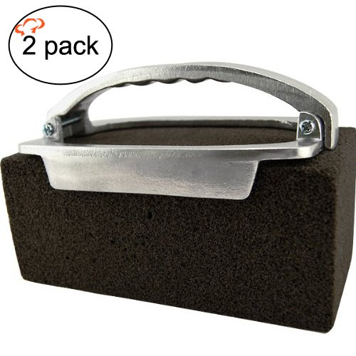 Tiger Chef Griddle Brick Holder and Grill Brick Cleaner, 2-Piece Set - for Cleaning Griddles and Grills
