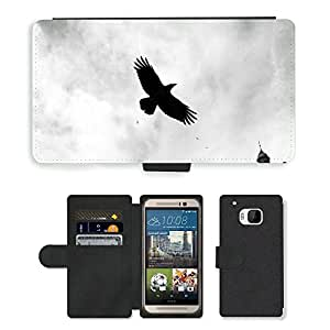 Super Stella Cell Phone Card Slot PU Leather Wallet Case // M00147530 Bird Crow Dark Flying Raven Fantasy // HTC One M9