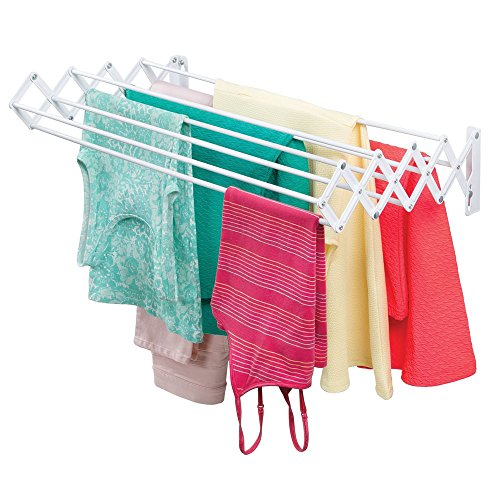 mDesign Metal Wall Mount Accordion Expandable Retractable Clothes Air Drying Rack - 8 Bars for Hanging Garments - Great for Laundry Room, Bathroom, Utility Area - Compact Fold Away - White