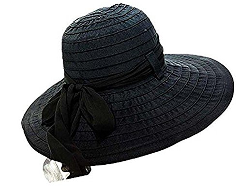 YX Women's Wide Brim Caps Summer Beach Sun Straw Collapsible Hats Bow Hats UPF50+, Black