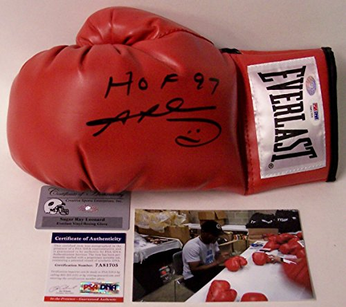 Sugar Ray Leonard Autographed Hand Signed Everlast Red Left Hand Boxing Glove - with HOF 1997 Inscriptions - PSA/DNA