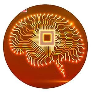 alfombrilla de ratón cerebro de neón. UPC. Placa de circuito. Ilustración del vector. eps 10 - ronda - 20cm