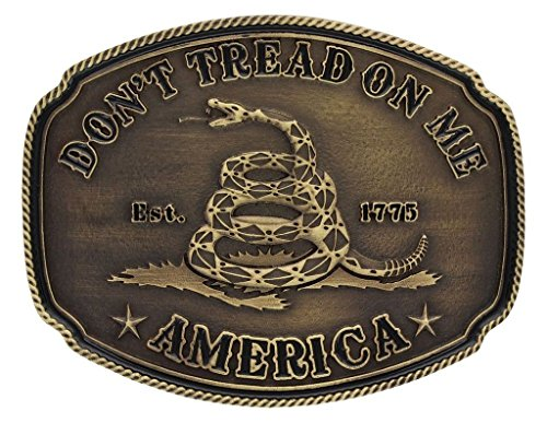 Tread Gadsden Dont Flag (Montana Silversmiths Men's American Gadsden Don't Tread On Me Heritage Gold One Size)