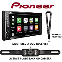 Pioneer AVH-1330NEX 6.2 DVD Receiver HD Radio Apple CarPlay Built in Bluetooth with License Plate Style Backup Camera and a FREE SOTS Lanyard