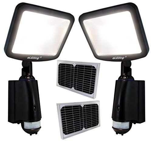 2PC LED Dusk to Dawn Outdoor Lighting 8W CREE 28WH Li-Poly Battery 100W Halogen Equiv. for Back Yardence (Black) by eLEDing