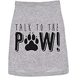 Dog Shirt Talk to The Paw Sassy Small Breed T Shirt Funny Sayings Tee (Heather Grey) - M