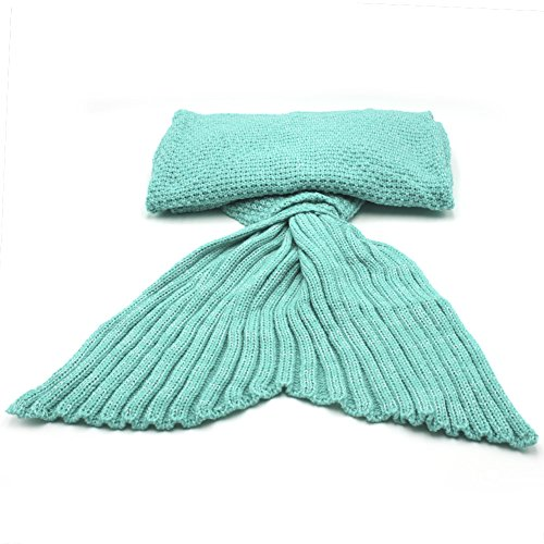 Soft Mermaid Tail Blanket Knit Crochet Handmade Living Room Sleeping Bag For Kids Adult All Seasons (Mint Green)