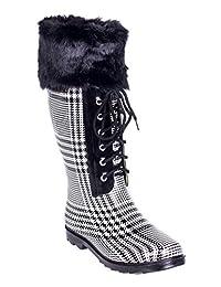 Women's & Ladies Rubber Rain Boots * Tall Cotton Lining Mid-Calf Below Knee Flat Knit Sock Cuff