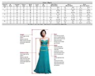Fanhao Women's V Neck Sequins Empire Chiffon Long Bridal Evening Party Prom dress