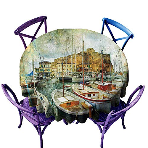 (Warm Family Marine Easy Care Tablecloth Naples Small Boats at Historical Italian Coast with Heritage Castle Nautical Artwork Indoor Outdoor Camping Picnic D43)