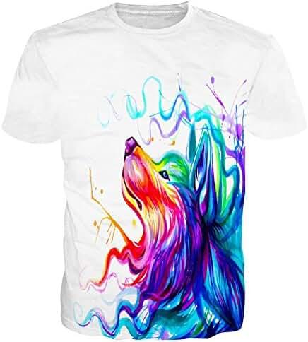 Raisevern Unisex 3d Print Wolf Short Sleeve T-Shirts Tees, Wolf, X-Large