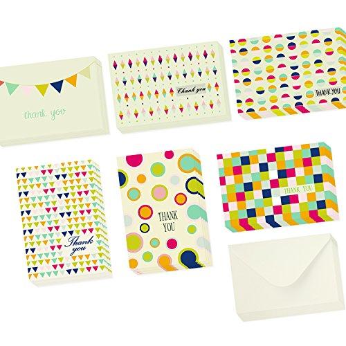 Ohuhu 48 Thank You Cards, Postcard Style Thank U Card of 6 Designs, Blank Inside W/ 48 Envelopes for Wedding, Graduation, Baby Shower
