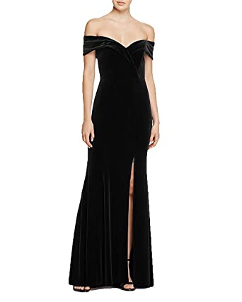 Womens Velvet Mermaid Long Evening Party Dress Formal Off Shoulder Prom Dresses Black UK06