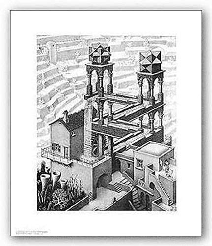 Waterfall M. C. Escher Fantasy Art Poster Print, Overall Size: 21.75x25.5, Image Size: 15.75x20 (Mc Escher Poster)