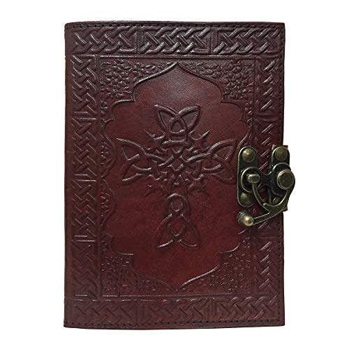 Leather Journal Book Celtic Cross Embossed Notebook Handmade Book of Shadows Blank Unlined Paper Handbook Office Diary College Book Poetry Book Sketch Book 5 x 7 Inches
